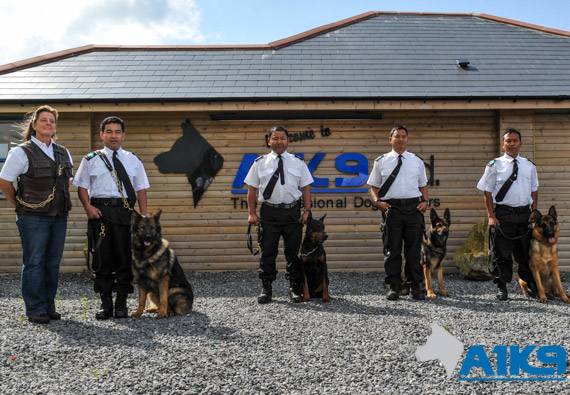 Four ex-Gurkhas complete their security dog handlers course at A1K9